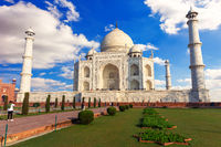 Taj Mahal in India, front view of the mausoleum under the clouds, Agra