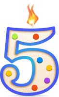 Five years anniversary, 5 number shaped birthday candle with fire on white