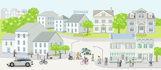 City silhouette of a small town with people and road traffic, illustration