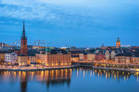 Stockholm Sweden, night city skyline at Gamla Stan old town