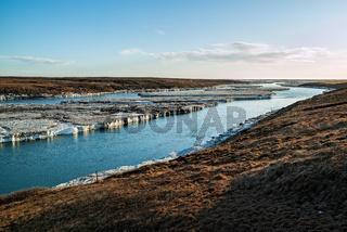 River near Urridafoss waterfall, Iceland