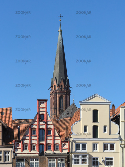 Lüneburg - Historic gables in front of the St Nicolai Church, Germany