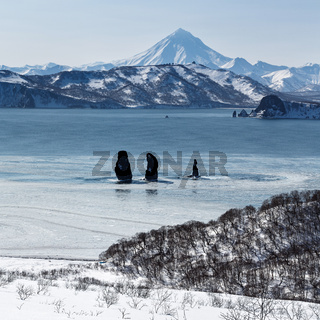 Three Brothers Rocks in Avachinskaya Bay and Vilyuchinsky Volcano. Kamchatka Peninsula
