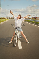 happy girl biker