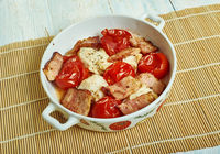 Cod with chopped tomatoes,  crispy pancetta,