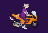 Cute dressed ounce on motobike. Cartoon vector illustration.