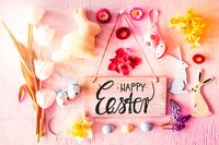 Sunny Nostalgic Easter Flat Lay, Sign, Calligraphy Happy Easter