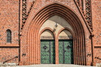 bitterfeld, germany - 19.06.2019 - church portal of the antonius church