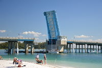 Beach and Bridge on Anna Maria Island at the Gulf of Mexico, Florida
