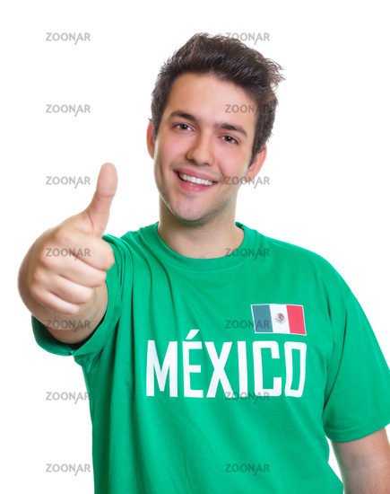 Laughing mexican sports fan showing thumb up