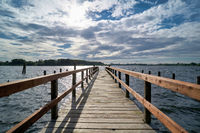 Boat landing stage on the banks of the river Havel near Töplitz in Germany