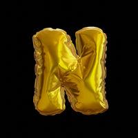 Golden Balloon Letter N, Realistic 3D Rendering