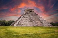 Beautiful sunrise over Maya pyramid Chichen Itza, Yucatan, Mexico