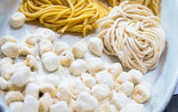 Traditional Italian cuisine. Preparation of Bucatini pasta in Rome, Italy.