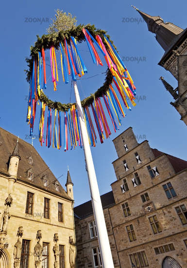 maypole with town hall, City Libra and St. Mary's Church , Osnabrueck, Lower Saxony, Germany, Europe