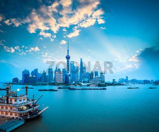 the beauty of shanghai at dusk