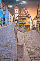 Rothenburg ob der Tauber famous landmark. Cobbled street and architecture of historic town of Rothenburg ob der Tauber view