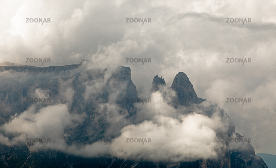 Dramatic clouds over Schlern mountain, Seiser Alm, Alpe di Siusi, South Tyrol
