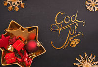 God Jul, Scandinavian Merry Christmas with golden and red Christmas decoration