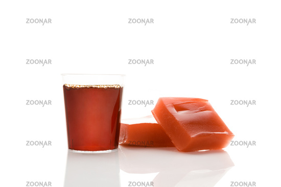 Collagen drink and jelly isolated on white background.