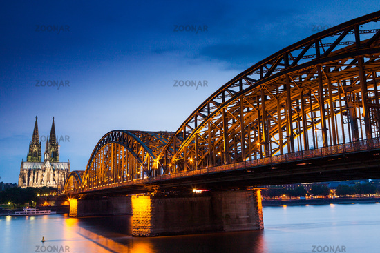 The Cologne Cathedral and the Hohenzollern railway bridge