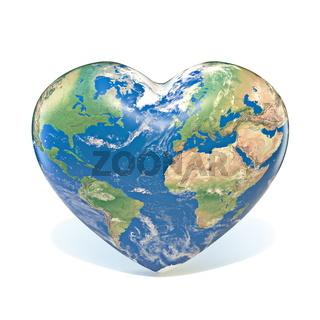 Earth globe heart shaped 3D