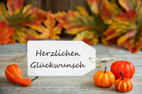 Label With Text Glueckwunsch Means Congratulations, Pumpkin And Leaves