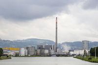 Oil harbour at the Danube river, Linz, Upper Austria, Austria, Europe