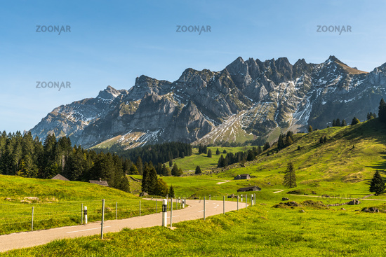 The Schwaegalp mountain pass road with view of the Alpstein massif and Saentis, Canton St. Gallen,