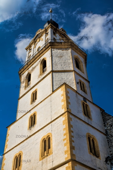 Weissenfels, Germany - 06/18/2019 - Bell tower of the Maria Church