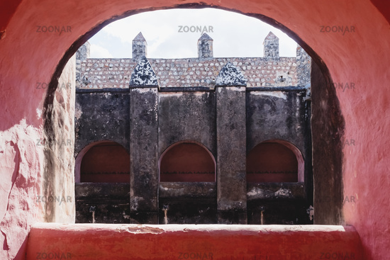 View through arch int the former monestary Convent de San Bernardino de Siena in Valladolid, Mexico