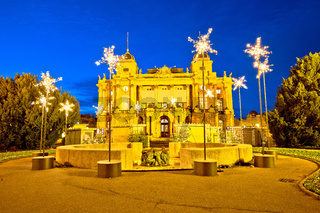 Zagreb. Republic of Croatia square and Croatian national theater advent evening view