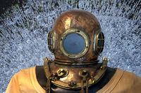 Helmet diver, diver