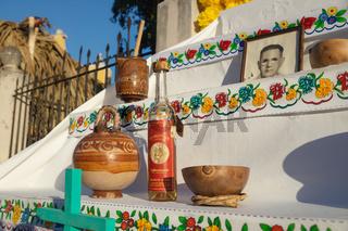 Traditional altar for day of the dead, dia de los muertos with Maya terracotta, Merida, Yucatan Mexico