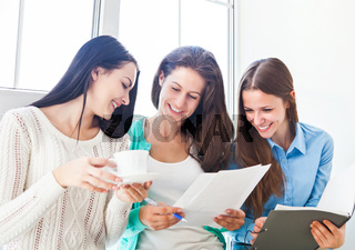 Female students studying together at home