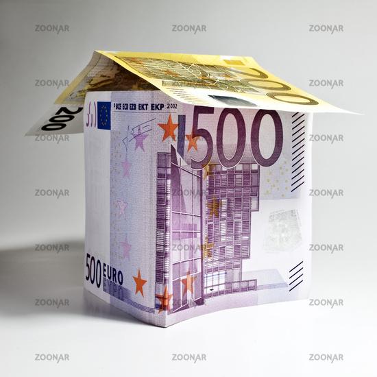 House made of euro banknotes, symbolic image