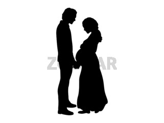 Silhouette couple expecting baby hold hands