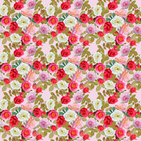 digital painting of seamless pattern with roses and leaves