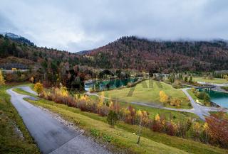 Alpine autumn  river and bridge view