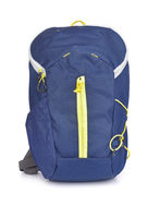 Front view of small blue backpack