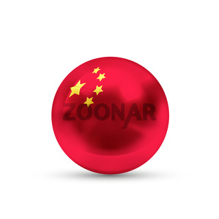 China flag projected as a glossy sphere on a white background