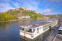 Main river cruise ship in town of Wurzburg view