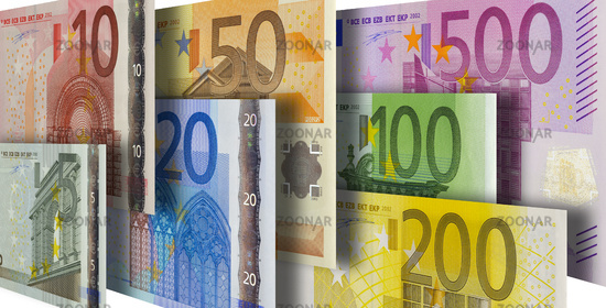 all euro banknotes in group
