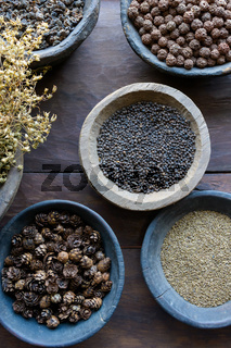 Herbs and spices in bowls