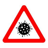 Coronavirus warning sign. Pandemic outbreak medical concept.