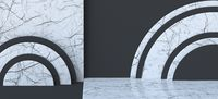 Abstract background white marble circles 3D