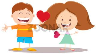 valentine card with cartoon girl and boy