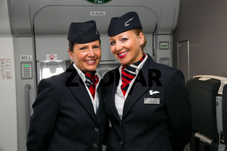 Two female Cabin Crew from the Ambassador team, on board an Airbus A380