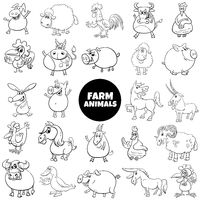 black and white cartoon farm animal characters big set