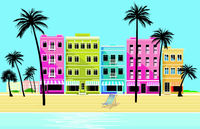 City in the tropics - vector illustration